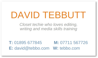 David's business card